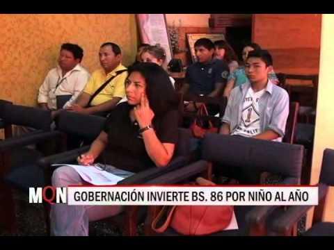 28/11/2014-18:49 GOBERNACIÓN INVIERTE BS  86 POR NIÑO AL AÑO