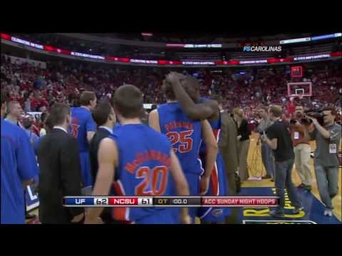 Florida hits a 3 point shot for buzzer beater versus NC State 2010 from 70 feet away!