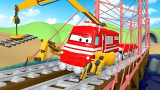 Troy der Zug -  Troy the Construction Train Repairs the Bridge ! - Cartoons für Kinder 🚓 🚒