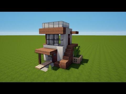 Minecraft Kleines Haus GrünGrau Bauen TutorialAnleitung - Minecraft haus bauen lernen