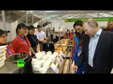 Путину показали олимпийскую столовую и кухню
