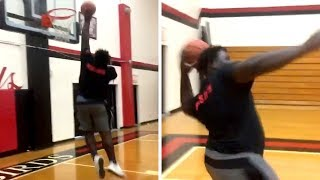 350 Pound Lineman Dunks It Then Shoots A INCREDIBLE Trick Shot
