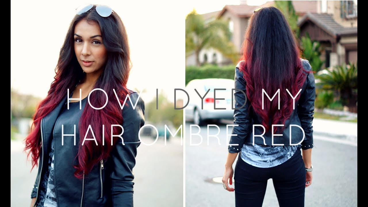 How I Dyed My Hair Ombre Red Without Bleach Youtube