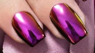 MIRROR POWDER AMETHYST PURPLE NAILS Step by Step - Nails 21