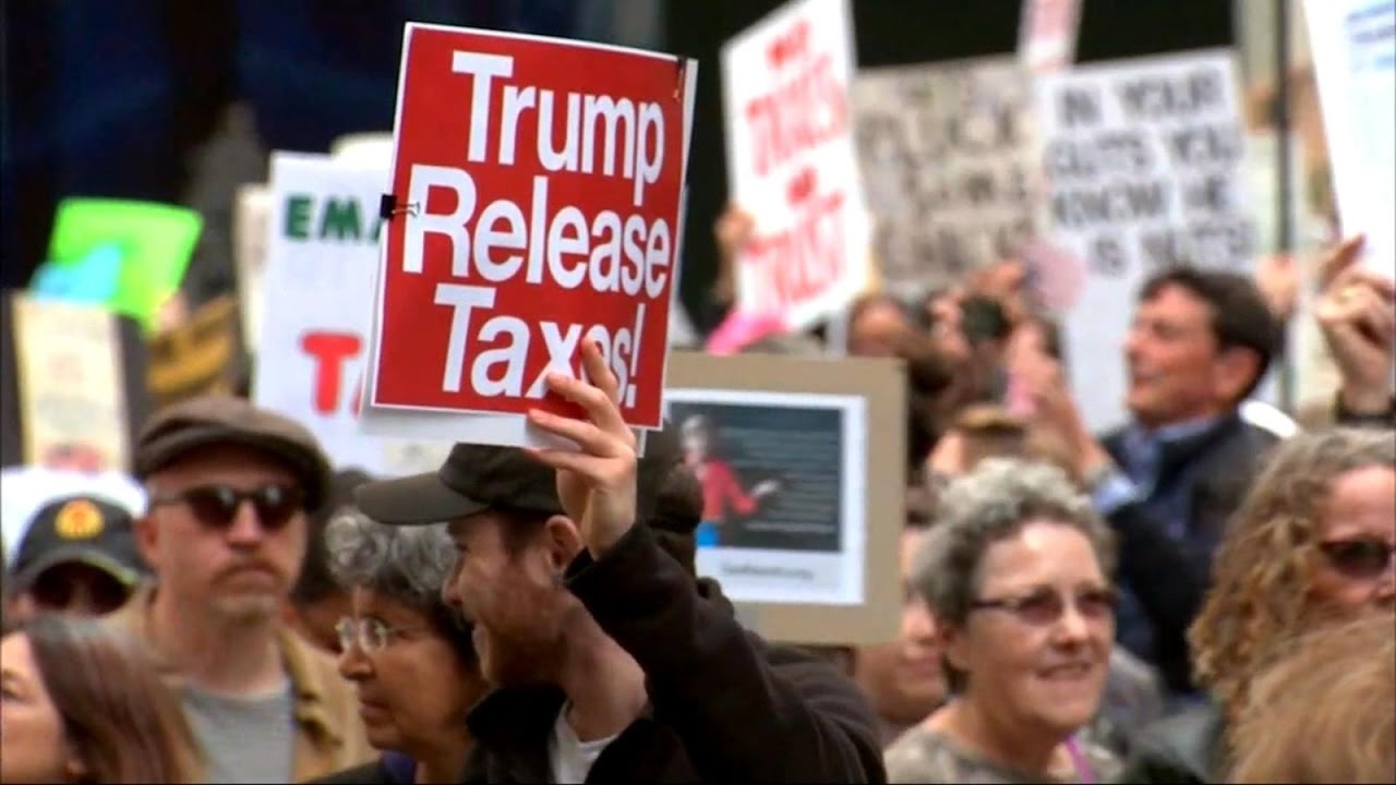 Protesters rally around the country demanding to see President Trump's tax returns