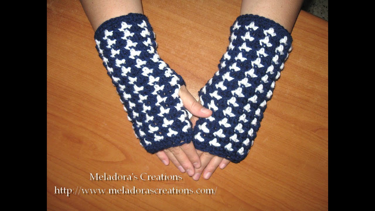 Crochet Fingerless Gloves Tutorials : Birds of a Feather Fingerless Gloves - Crochet Tutorial ...