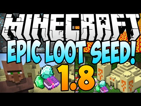 Minecraft 1.8 Seeds: EPIC LOOT SEED! 9 Diamonds. 2 Temples. 2 Villages AT SPAWN (Minecraft 1.8) 2014