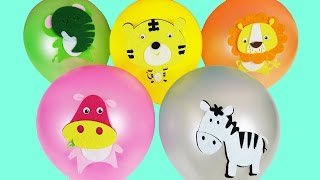 LEARN COLORS & ANIMALS With Balloons | Learn Animal Sounds | Color Finger Family Nursery Rhyme