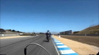 DIY electric bicycle races motorcycles on Laguna Seca!  Ebike Liveforphysics!
