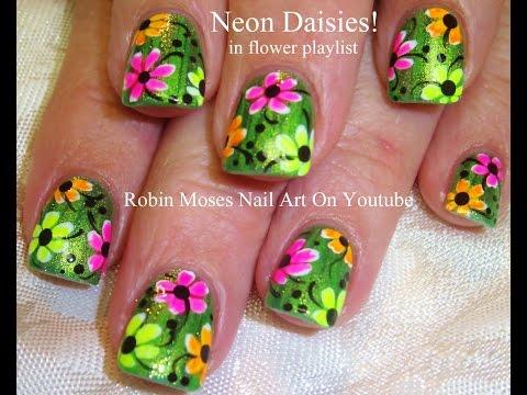 Easy Nail Art Design | DIY NAILS  Neon Daisy Nail Tutorial