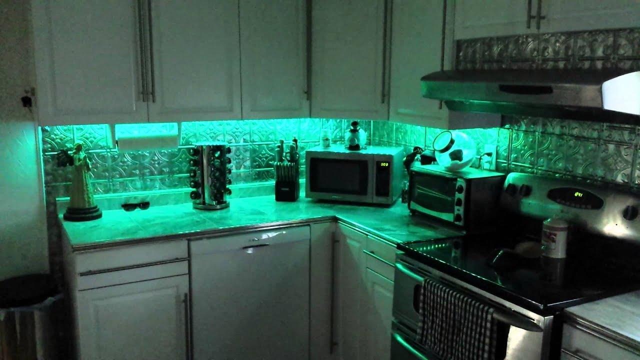 multi color led under cabinet lighting youtube. Black Bedroom Furniture Sets. Home Design Ideas