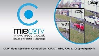 CCTV Video Resolution Comparison - CIF, D1, WD1, 720p & 1080p using HD-TVI
