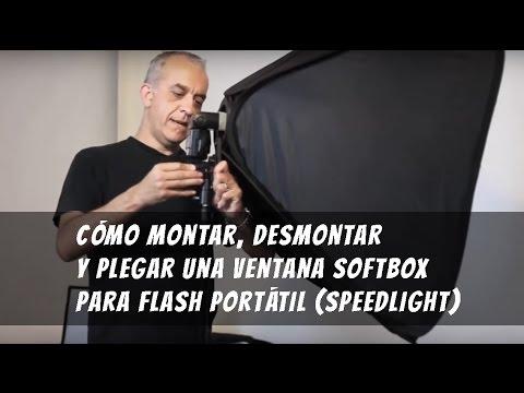 Cómo montar, desmontar y plegar una ventana softbox para flash portátil