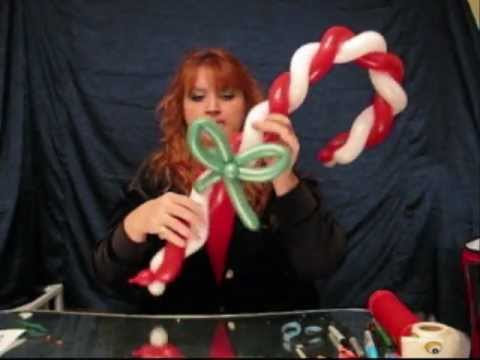 Christmas candy cane how to make balloon animals st for Candy cane balloon sculpture