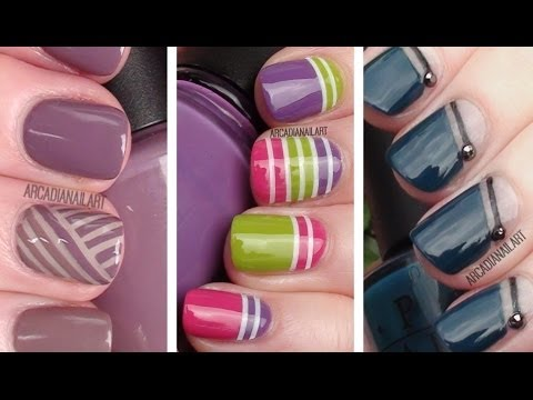 3 Striping Tape Easy Nail Art Designs | Nail Art For Beginners | Arcadianailart video