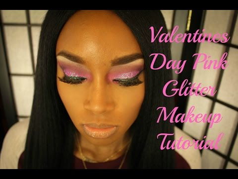 Pink Glitter Makeup Tutorial  Valentines Day
