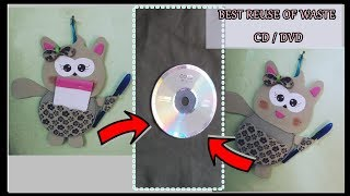 DIY- Pen And Notepad Holder From Waste CD/DVD || CD/DVD Craft