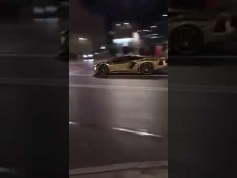 Wypadek Złotego Lamborghini Aventador Warszawa