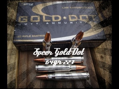 Speer LE Gold Dot 223 64gr GDSP Ballistics Gel Test (#24448)