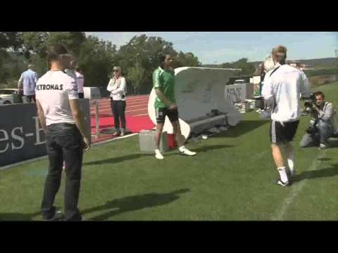 Michael Schumacher and Nico Rosberg showing their Football Skills