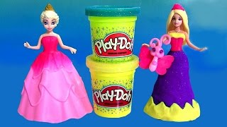 Barbie Princess Power Dress-up MagiClip Disney Frozen Anna Elsa Play-Doh Sparkle con Brilho Glitter