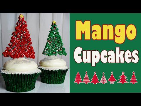 Como hacer cupcakes decorados de mango para navidad