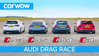 Audi RS5 vs RS3 vs S4 vs old RS4: Drag Race *Closer than you think*