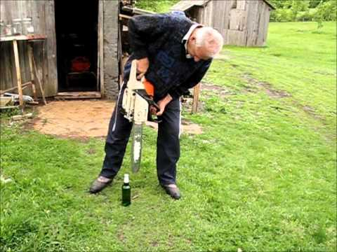 Opening Beer with Chainsaw