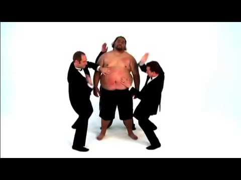 Man Slaps Another Man Slapping a Naked Fat Man