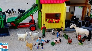 Schleich Horse Wash Area and Farm Animals Playsets Toys For Kids