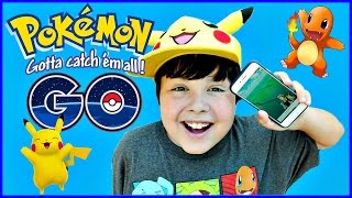 POKEMON GO with Brayden! First Time Pokemon Hunting Pikachu Charmander Safety First