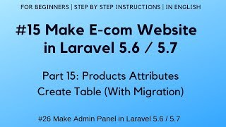#15 Make E-commerce website in Laravel 5.6 | #26 Admin Panel | Products Attributes