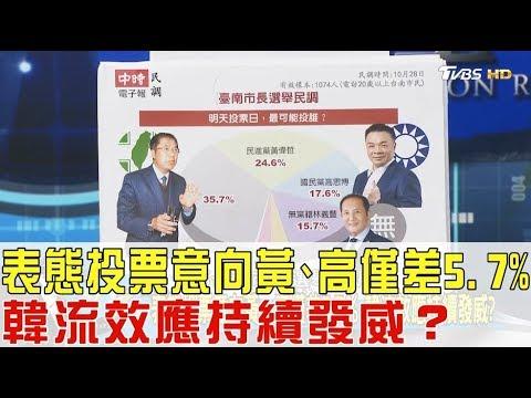台灣-少康戰情室-20181030 2/2 表態投票意向黃偉哲、高思博僅差5.7%!韓流效應持續發威?