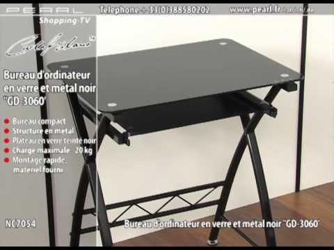 Prix bureau d 39 ordinateur en verre et m tal noir 39 39 gd 3060 for Petit bureau d ordinateur