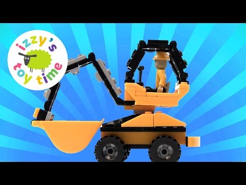 Construction Vehicles Toys for Kids | Building a LEGO Brix Digger! Unboxing Videos for Kids