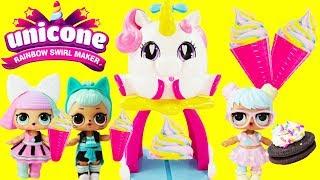 UNICORN ICE CREAM MAKER LOL Surprise Dolls Bon Bon,Trouble Maker, and Pranksta Unicone Swirl Maker
