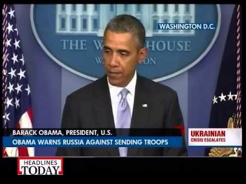 Obama warns Russia against sending troops to Ukraine