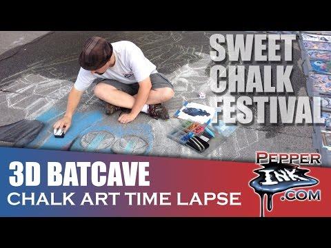 Sweet Chalk Festival 2014 3D Batcave Time Lapse