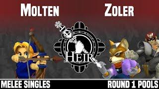 Heir 4 - Molten (Young Link) vs Zoler (Fox, Captain Falcon) - MELEE SINGLES - ROUND 1 POOLS