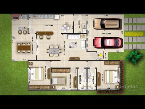 Plantas de casas - Térrea com 3 quartos e varanda gourmet - Cód. 104  - Soprojetos.com.br