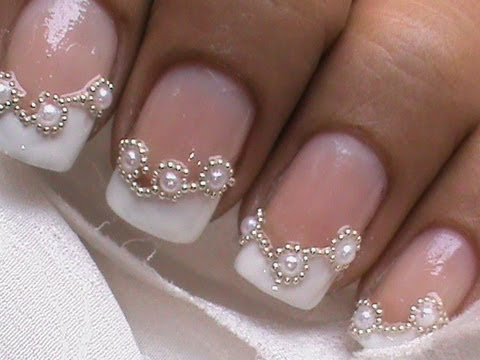 Bridal white pearl nails french tip design nail art designs + beads review for sammydress