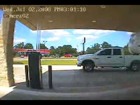 RV Crashes into Gas station Frightening