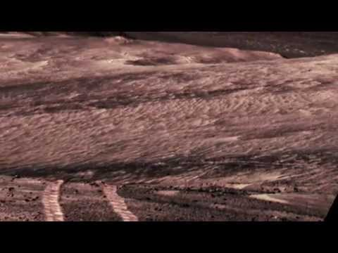 Opportunity's Long Tracks on Crater Rim