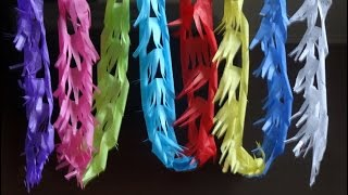 No glue craft :How to make long colorful streamer with no glue under 5 mins.