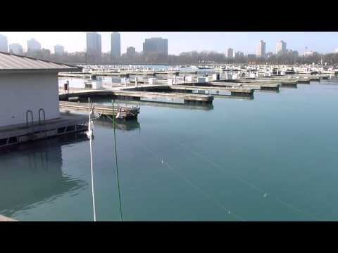 Perch fishing at Montrose Harbor in Chicago Lake Michigan