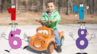 GOO GOO GAGA PLAYS HIDE N SEEK WITH NUMBERS N MATER!  Learn to Count to 5 with Mater