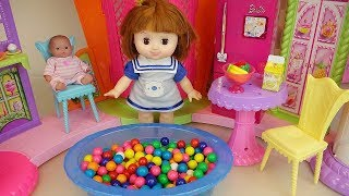 Baby Doll big house and candy pool play baby Doli house