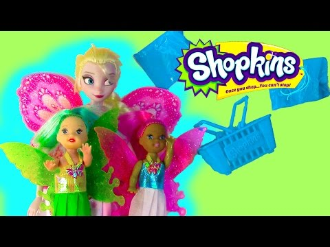 Fairy Disney Queen Elsa Frozen Barbie Doll Shopkins Blind Bag Basket Opening Review