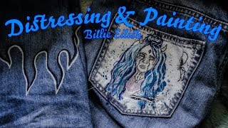 Painting Billie Eilish on denim | Distressing & Painting Episode 4