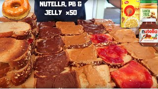 OVER 10,000 CALORIES OF NUTELLA, PEANUT BUTTER & JELLY SANDWICHES CHEAT MEAL